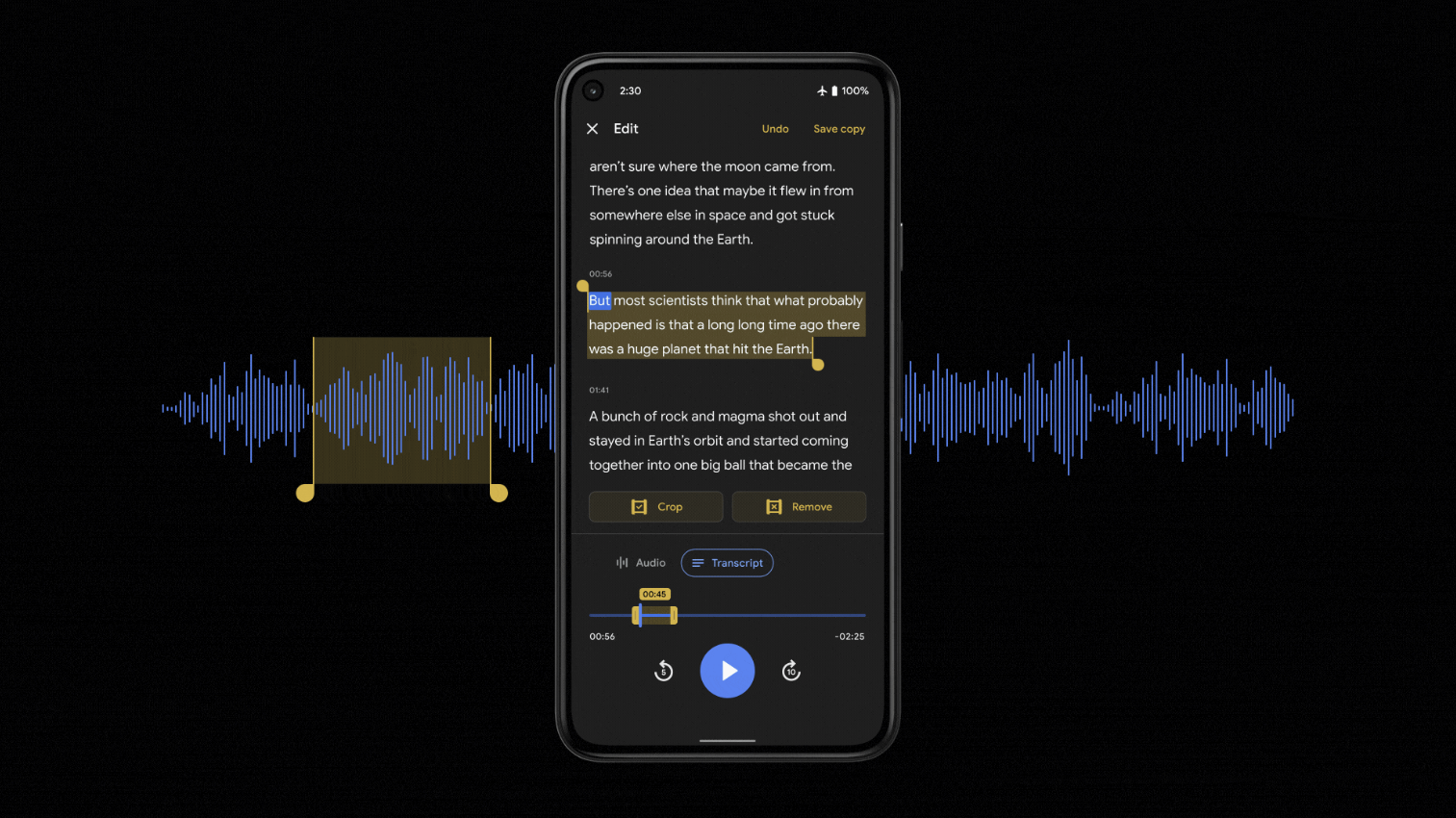 Recorder application from Google will allow you to cut recording fragments based on its transcription