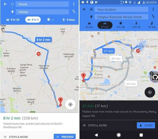 "Google adds ""Motocycle Mode"" to their Maps"